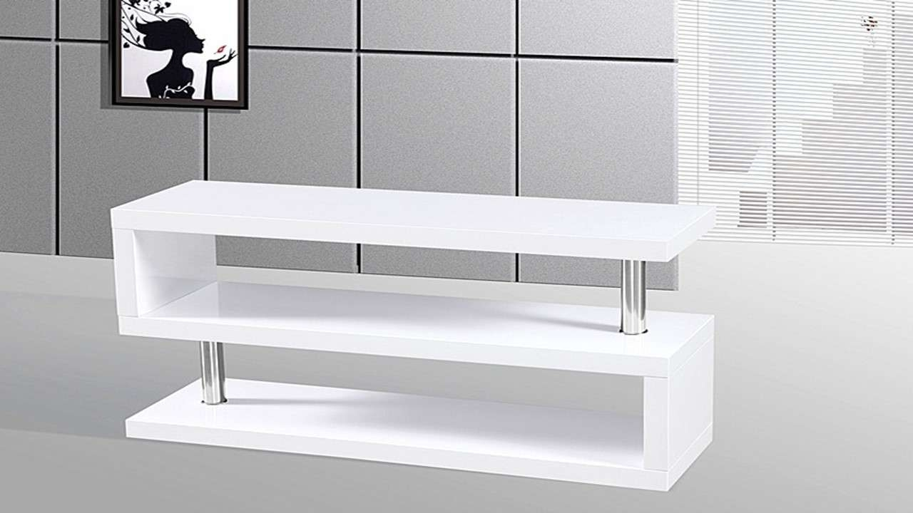 Tv Stand Unit In White High Gloss – Homegenies Pertaining To High Gloss White Tv Stands (View 2 of 15)
