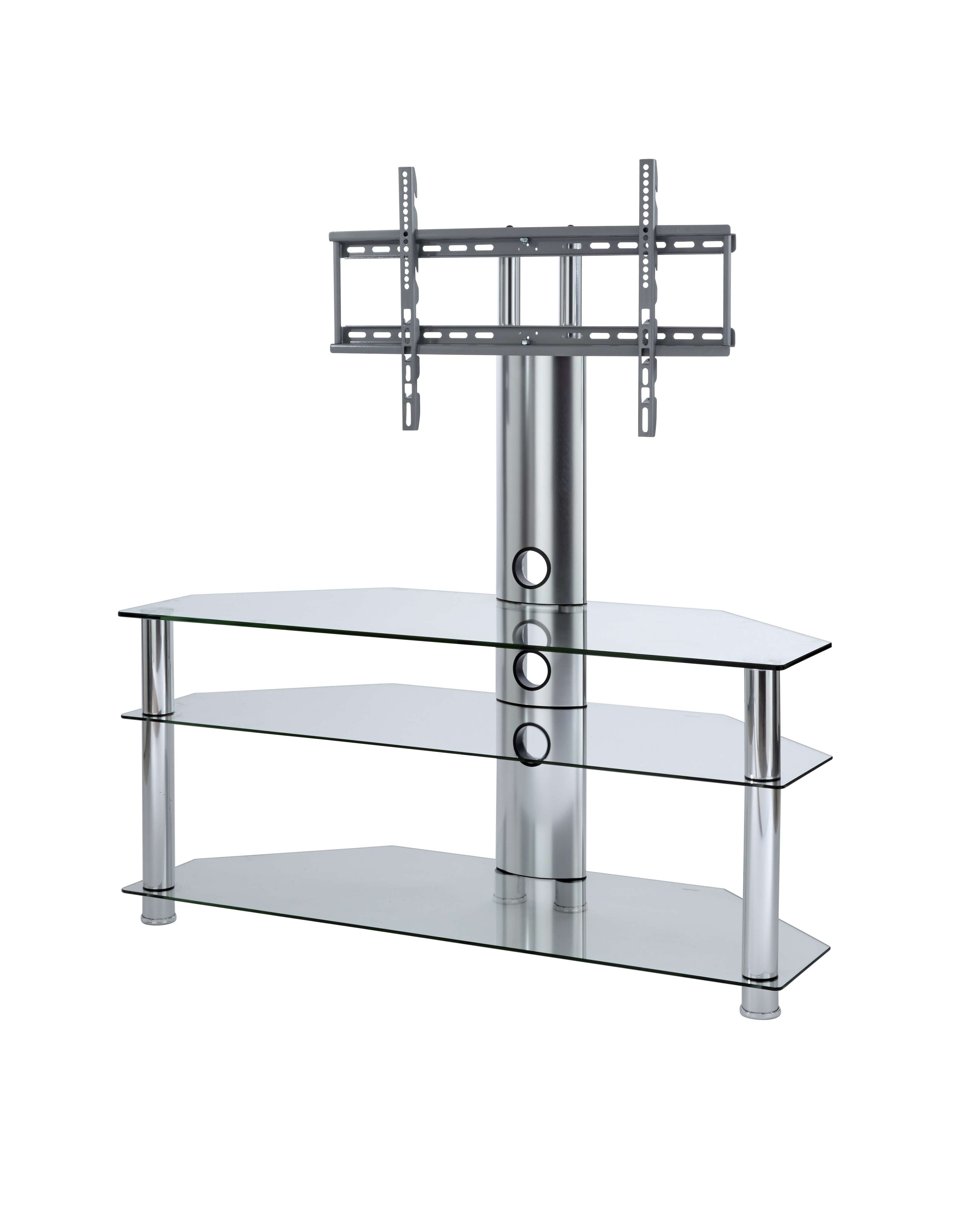 Tv Stand With Mount | Clear Glass Cantilever Tv Stand In Cantilever Glass Tv Stands (View 3 of 20)