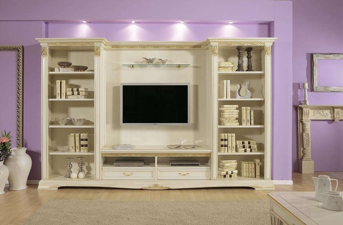 Tv Stand With Shelves, Ideal For Luxury Classic Living Rooms Inside Classic Tv Stands (View 3 of 20)