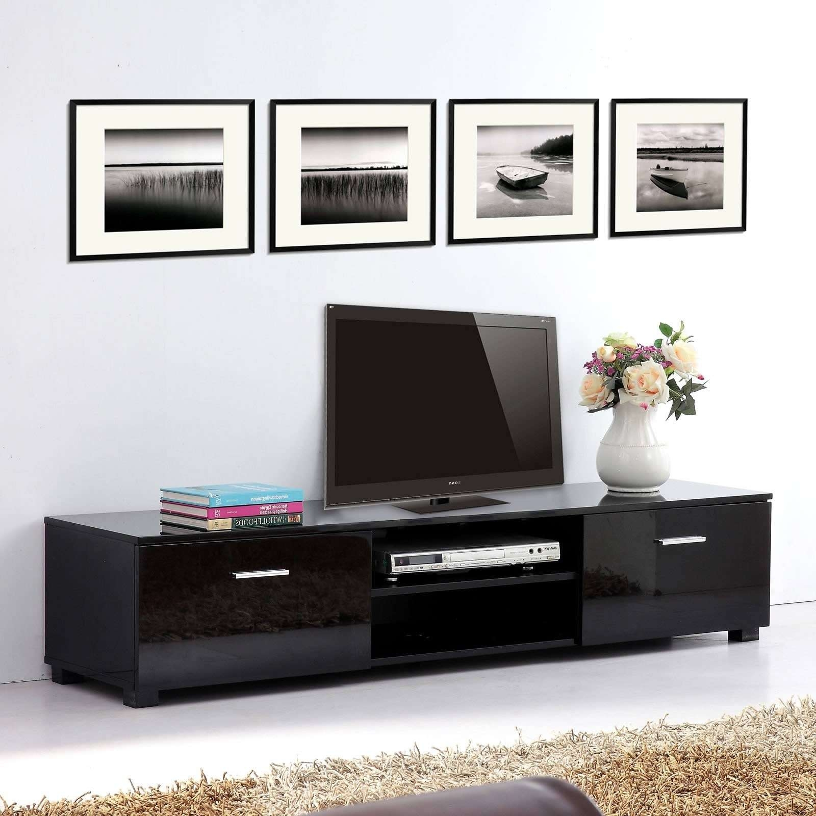 Tv Stands Adjustable Height Tall Stand With Mount Thin Wood Regarding Long Black Tv Stands (View 2 of 15)