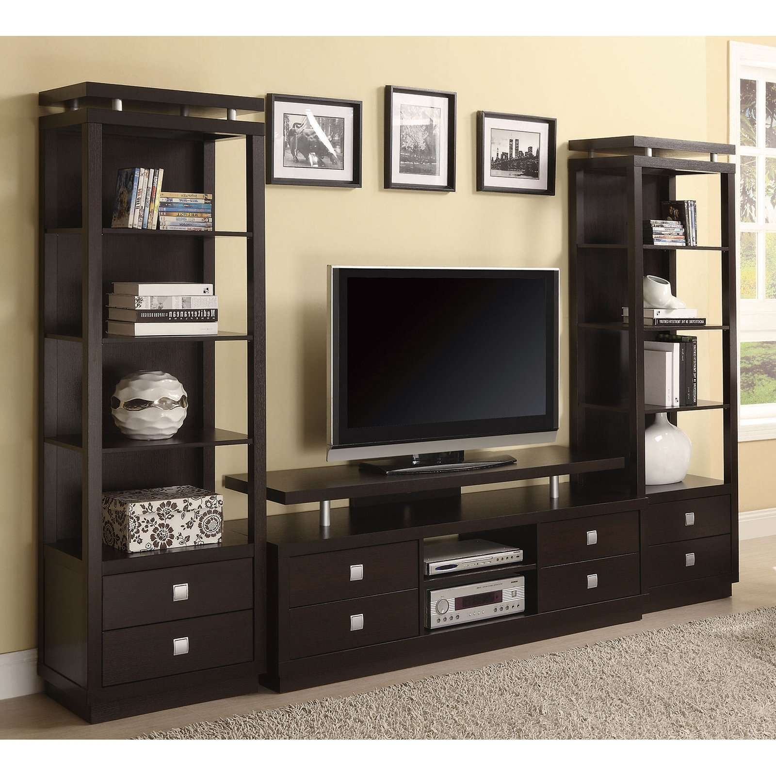 Tv Stands Awesome Entertainment Centers Inch Furnitures Center Regarding Tv Stands With Drawers And Shelves (View 10 of 15)