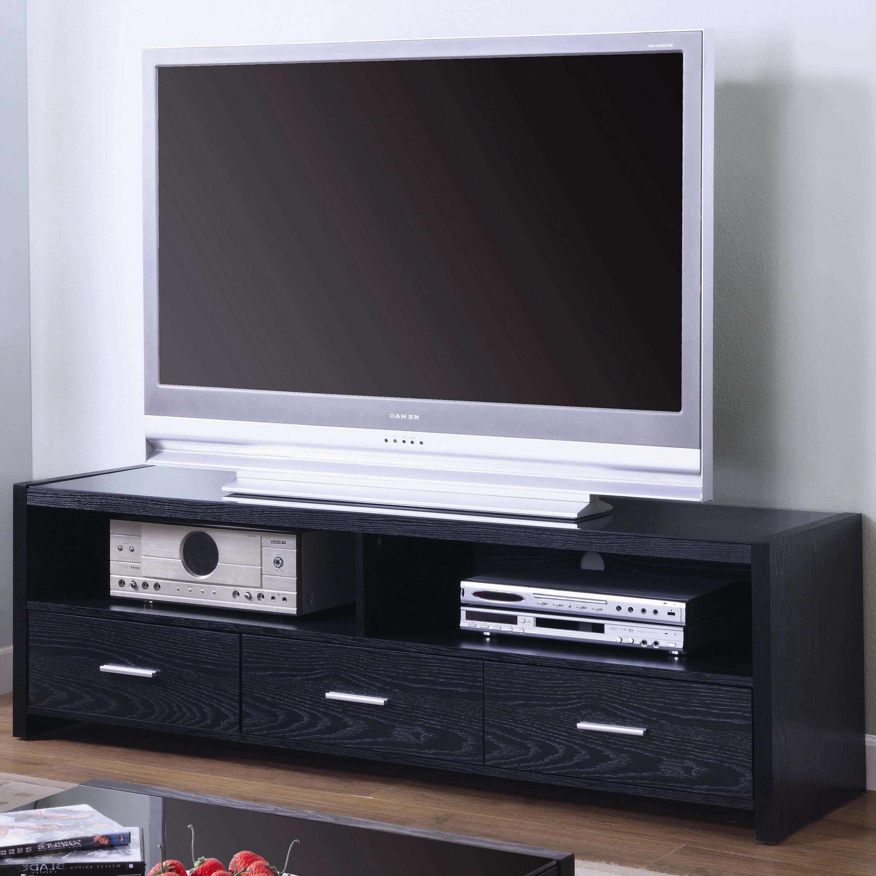Tv Stands Contemporary Media Console With Shelves And Drawers For Black Tv Stands With Drawers (View 7 of 15)
