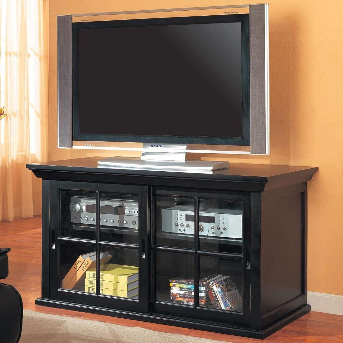 Tv Stands Transitional Media Console With Sliding Glass Doors Inside Black Tv Stands With Glass Doors (View 3 of 15)