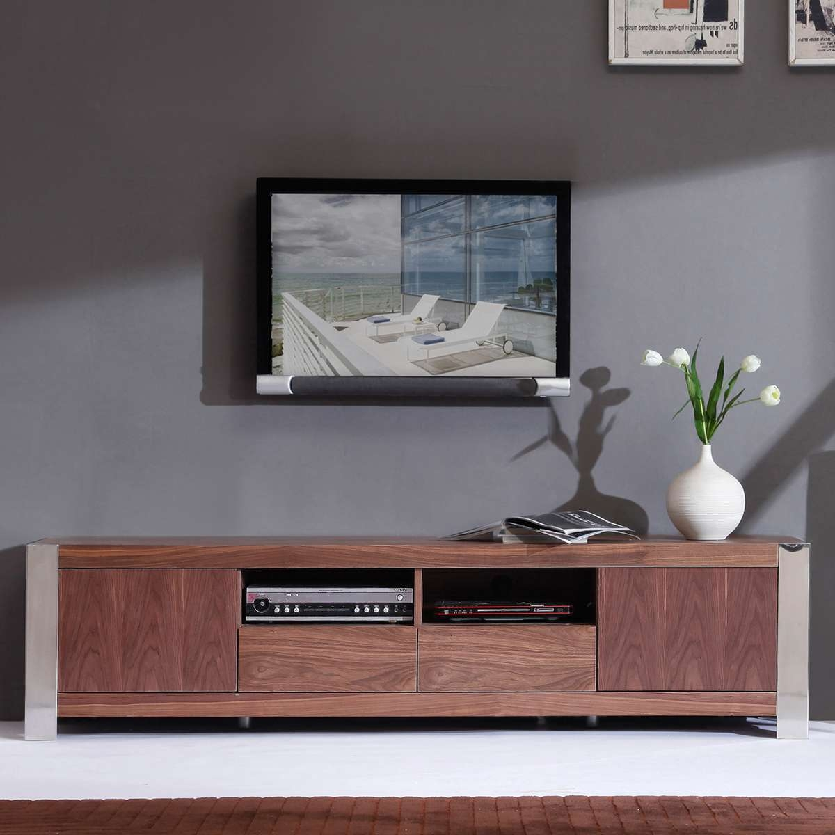 Tv Television Stands 71 & Wider At Dynamic Home Decor For Dark Walnut Tv Stands (View 9 of 15)