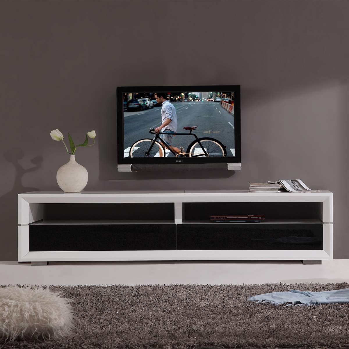 Tv Television Stands 71 & Wider At Dynamic Home Decor For Modern White Lacquer Tv Stands (View 15 of 15)