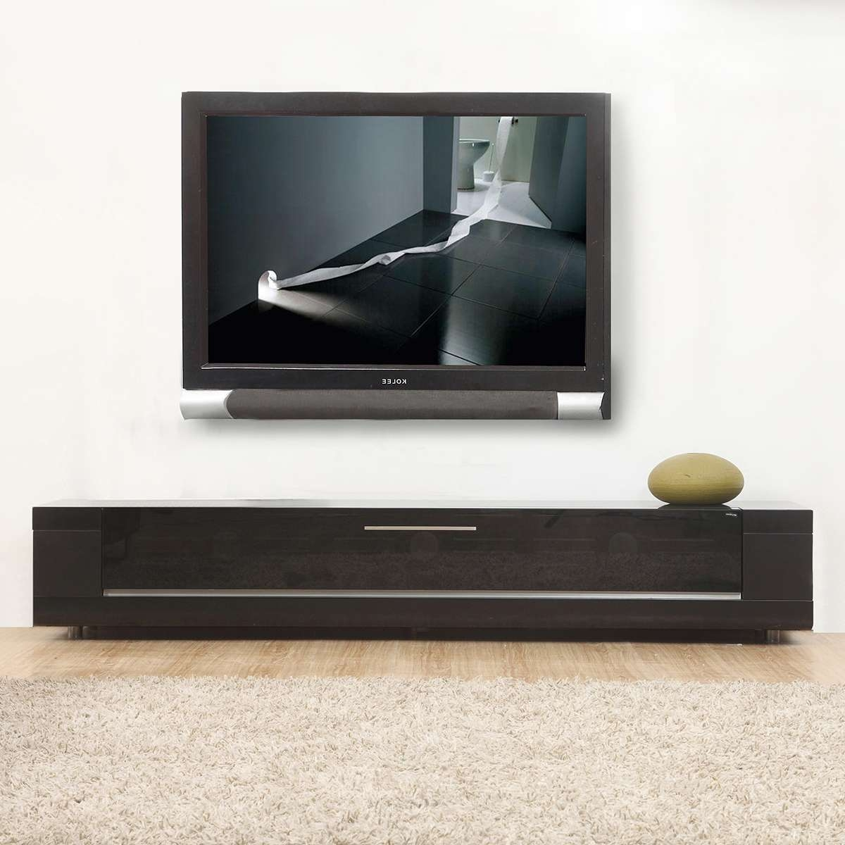 Tv Television Stands 71 & Wider At Dynamic Home Decor Intended For Contemporary Black Tv Stands (View 7 of 15)