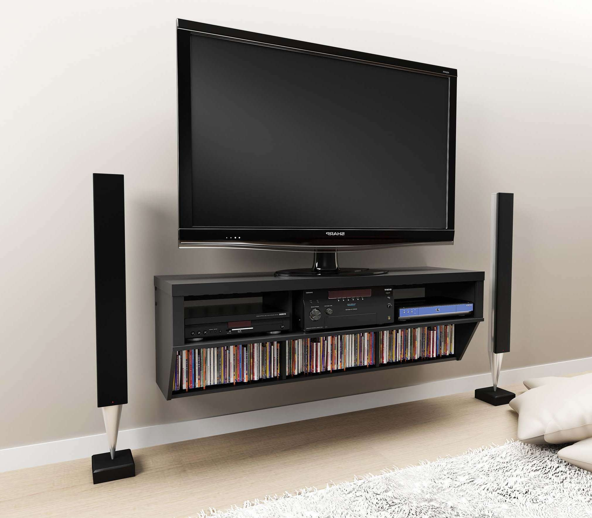 Tv Wall Mount With Shelf Mounted Entertainment Console Media Regarding Wall Mounted Tv Stands For Flat Screens (View 2 of 15)