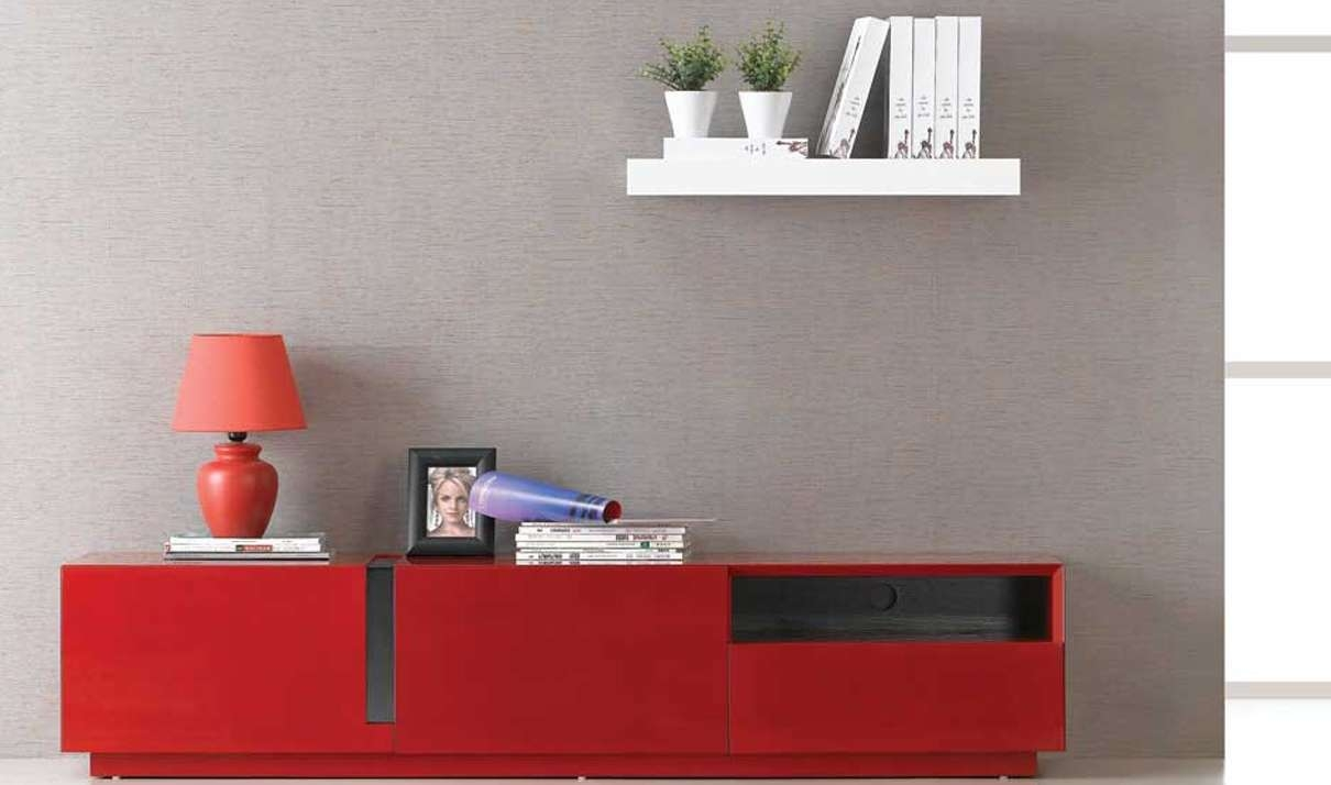 Tv027 Modern Tv Stand In Red High Gloss | Free Shipping | Get Within Red Gloss Tv Stands (View 4 of 15)
