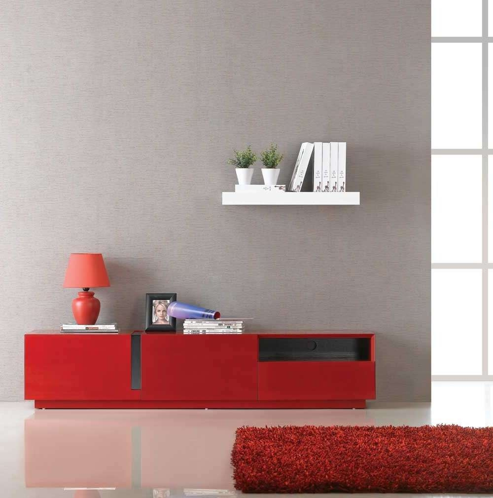 Tv027 Red High Gloss Tv Stand | J & M Furniture Regarding Red Tv Stands (View 7 of 15)