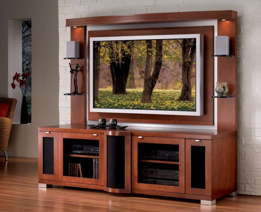 Tvnd With Back Panel Wonderful Flat Screen Tv Cabinet Plans 120 Intended For Wooden Tv Stands With Doors (View 14 of 15)