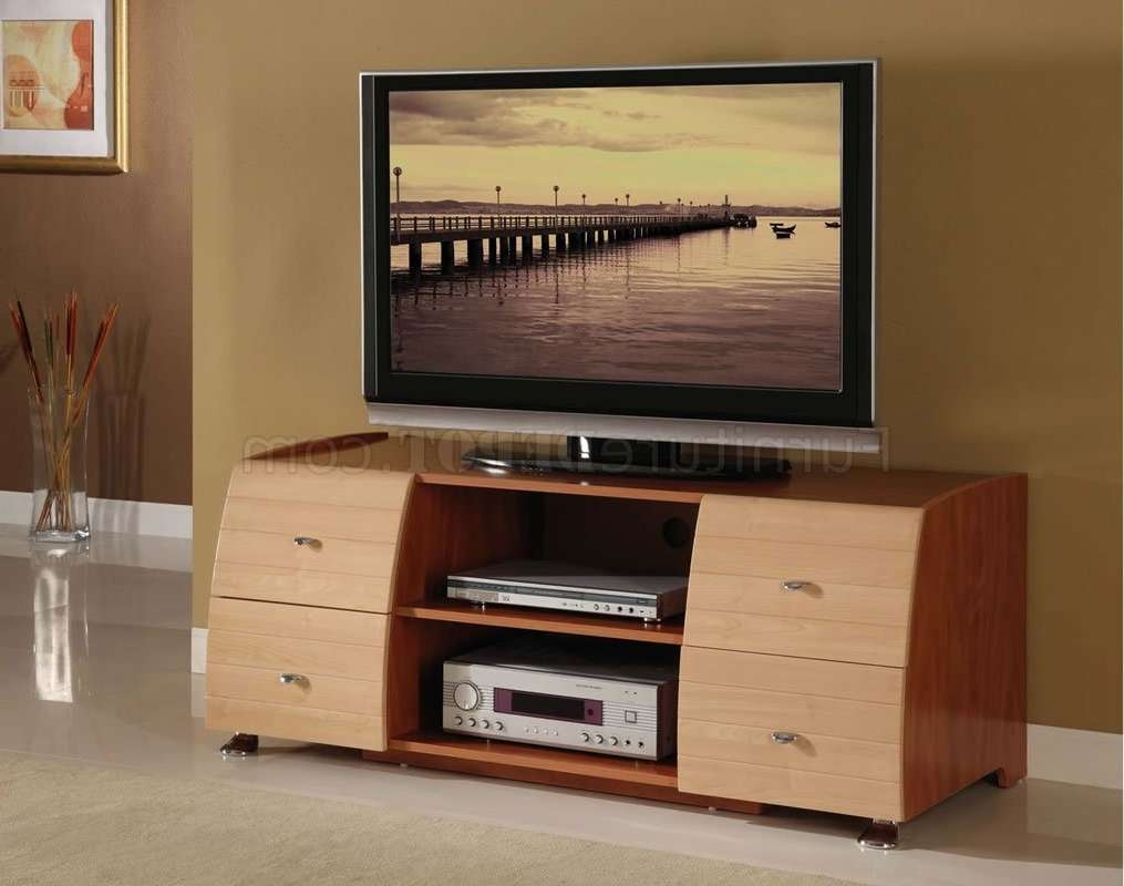 Two Tone Maple & Cherry Contemporary Tv Stand Regarding Maple Tv Stands (View 2 of 15)