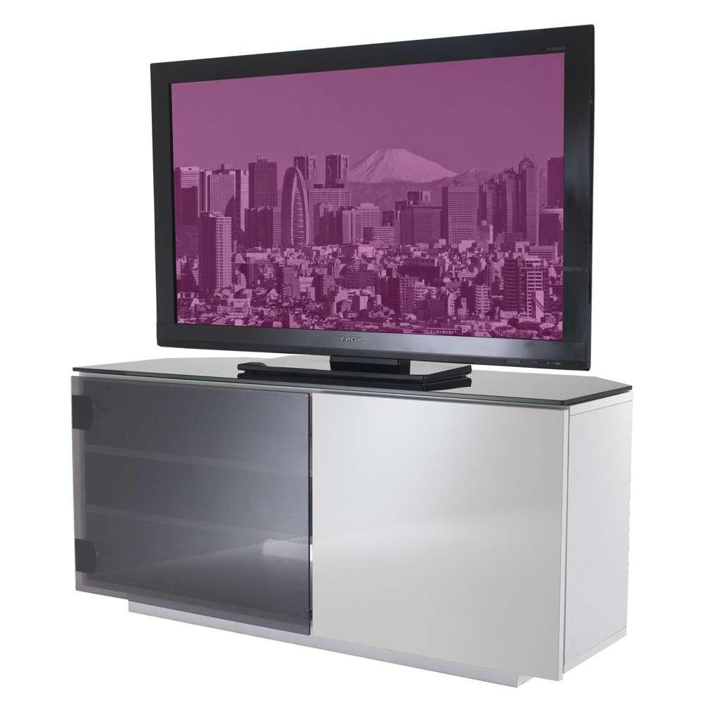 Uk Cf Tokyo Gloss White & Black Glass 2 Door Corner Tv Cabinet With Regard To Black Gloss Corner Tv Stands (View 7 of 15)