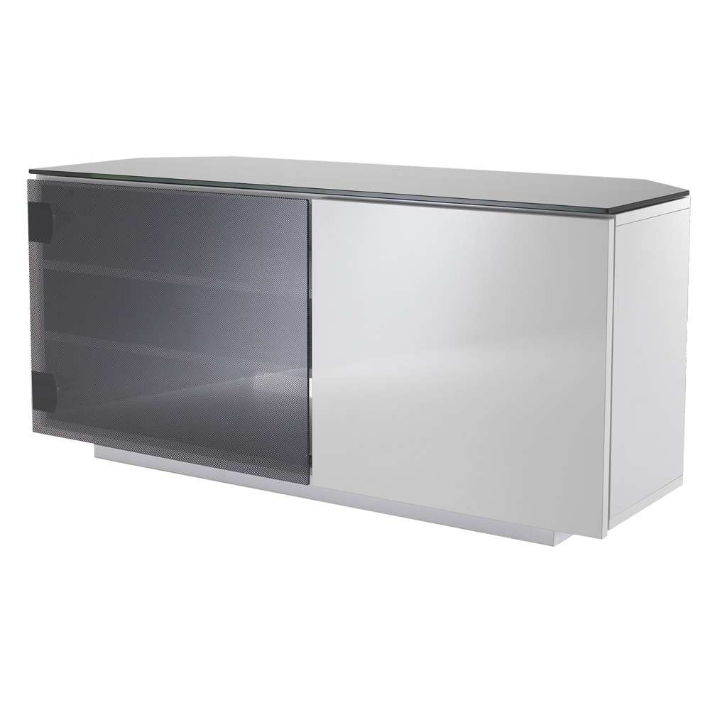 Uk Cf Tokyo Gloss White & Black Glass 2 Door Corner Tv Cabinet Within White Gloss Corner Tv Stands (View 14 of 15)