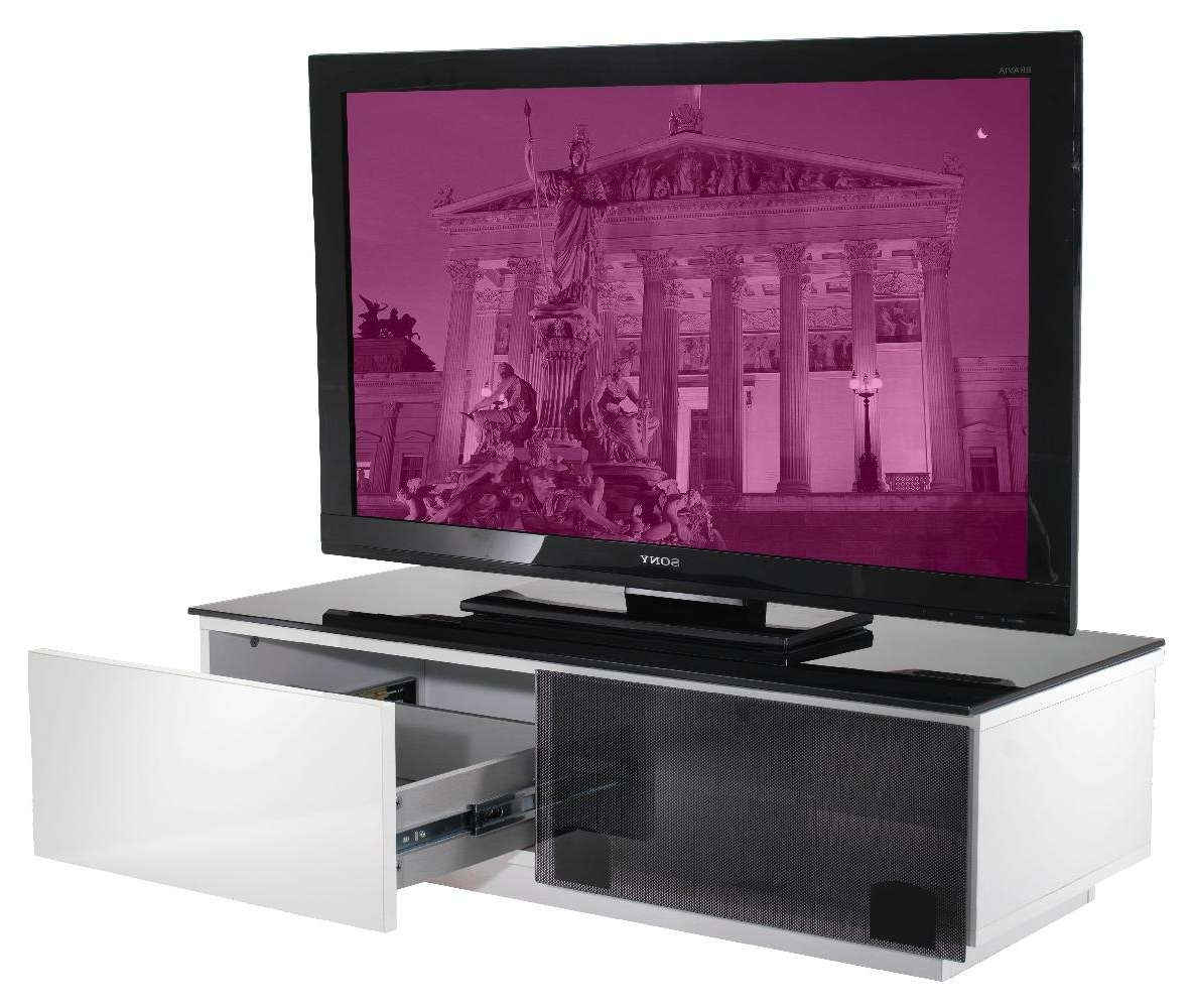 Uk Cf Vienna Gloss White & Black Glass Low Level Tv Cabinet 100Cm With Tv Stands 100Cm Wide (Gallery 7 of 15)