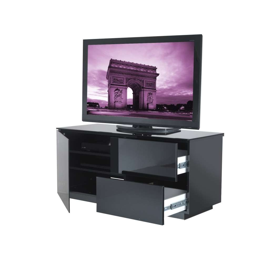 Ukcf Paris Black Gloss 2 Drawer Tv Stand 110Cm Within Small Black Tv Cabinets (View 19 of 20)