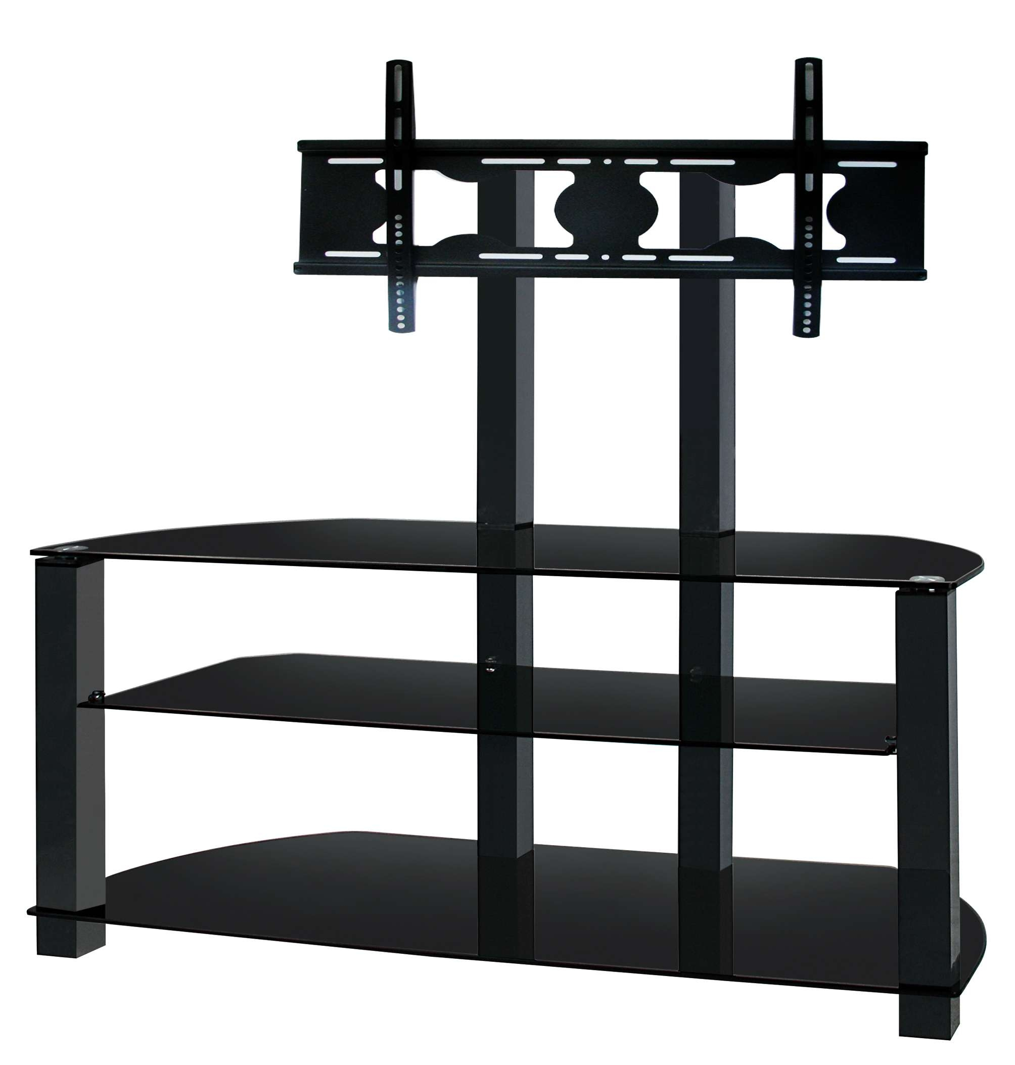 Ultra Cantilever Black Tempered Glass And Aluminium Tv Stand For For Cantilever Glass Tv Stands (Gallery 6 of 20)