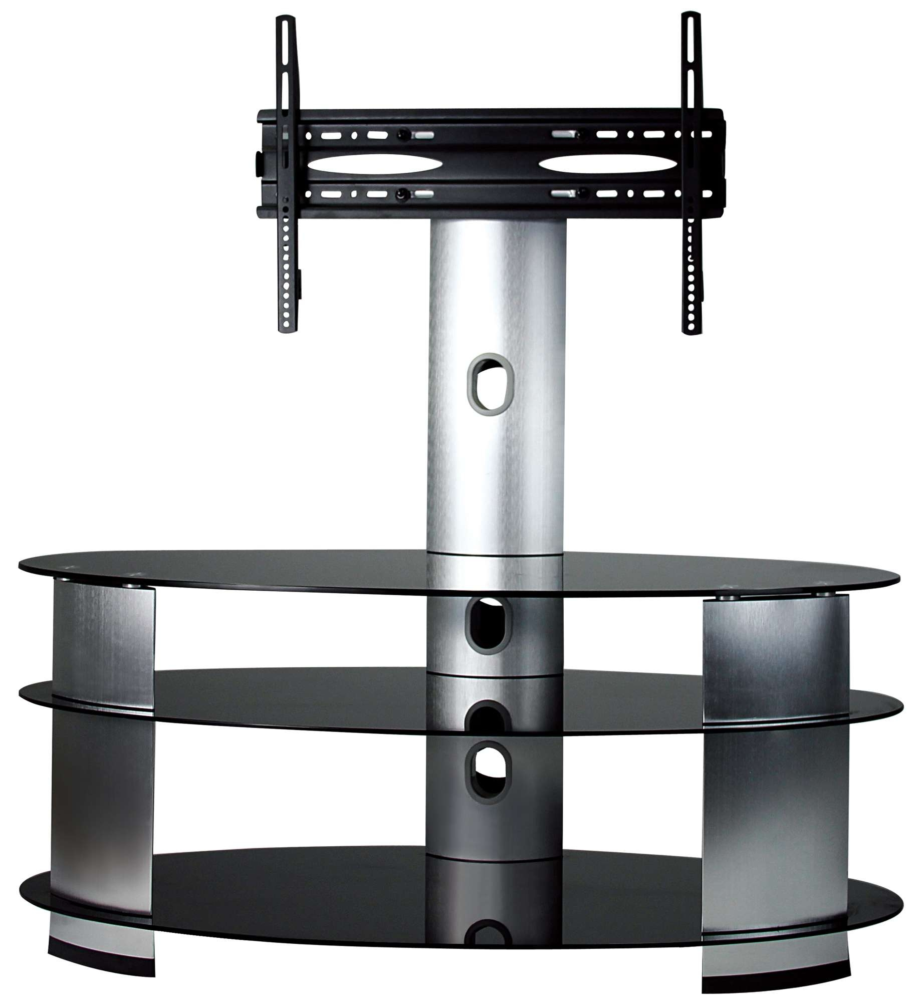 Ultra Cantilever Black Tempered Glass And Stainless Steel Tv Stand With Regard To Swivel Black Glass Tv Stands (View 15 of 15)