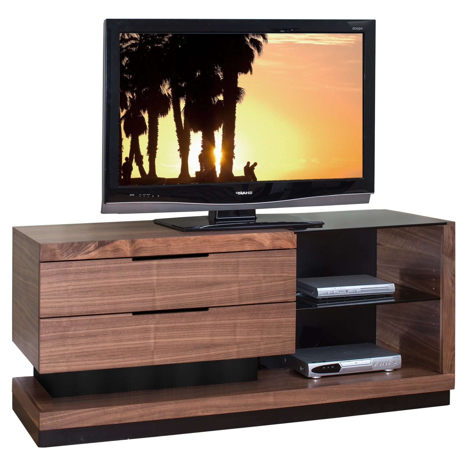 Unique Cool Tv Stands With Half Dark Glass Top And Floating Pertaining To Wood Tv Stands With Glass Top (View 4 of 15)
