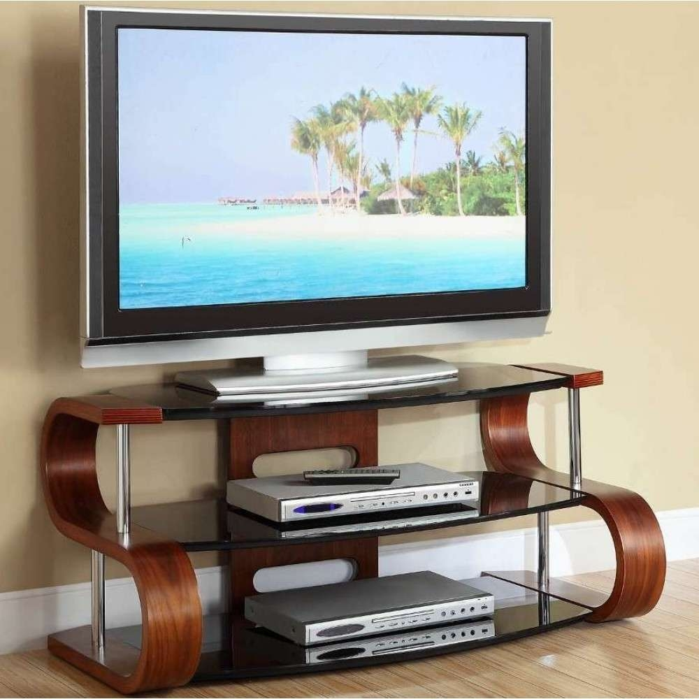 Unusual Dark Wooden Modern Tv Stand 3 Tier Black Glass Pertaining To Curve Tv Stands (View 12 of 15)