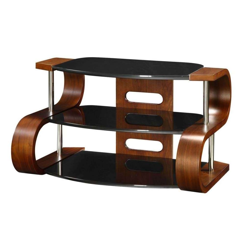 Unusual Dark Wooden Modern Tv Stand 3 Tier Black Glass Regarding Curve Tv Stands (Gallery 4 of 15)