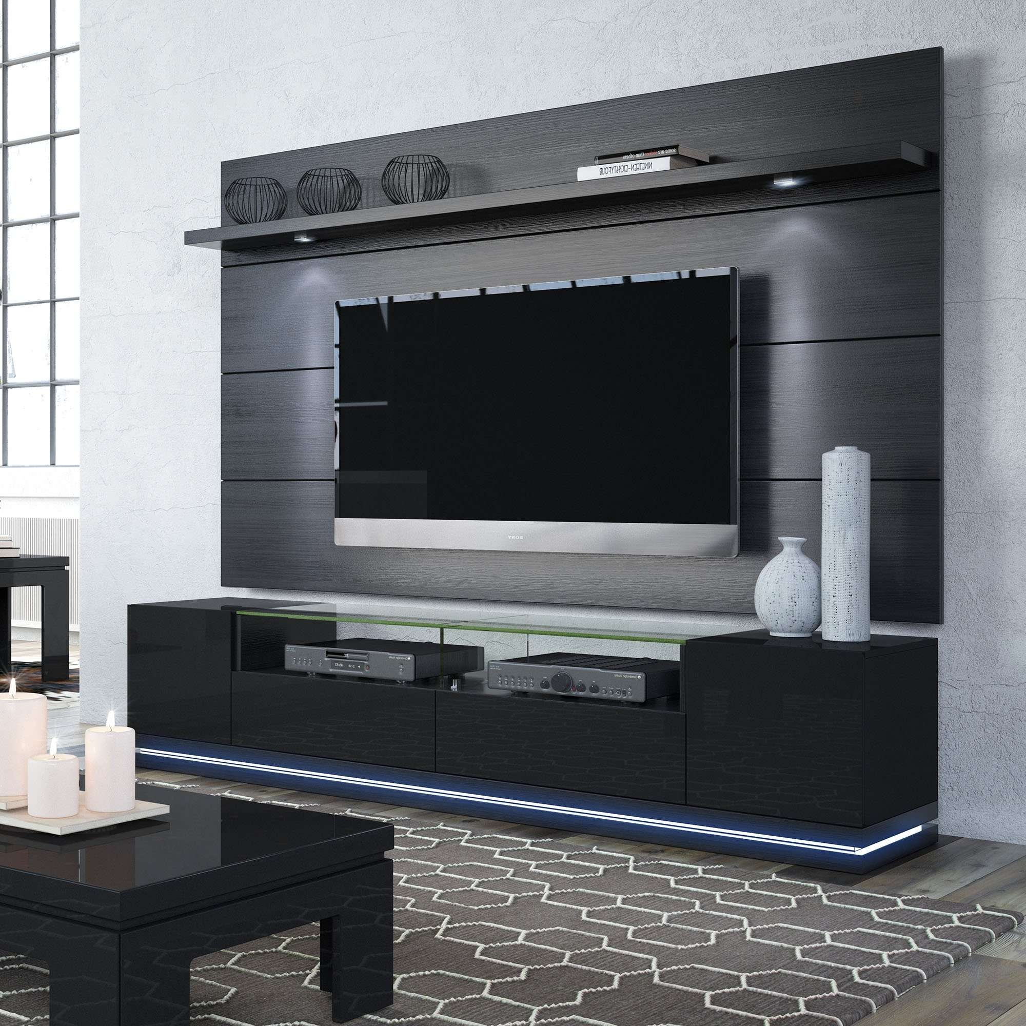 Vanderbilt Black Gloss & Black Matte Tv Stand & Cabrini 2.2 With Shiny Black Tv Stands (Gallery 11 of 15)
