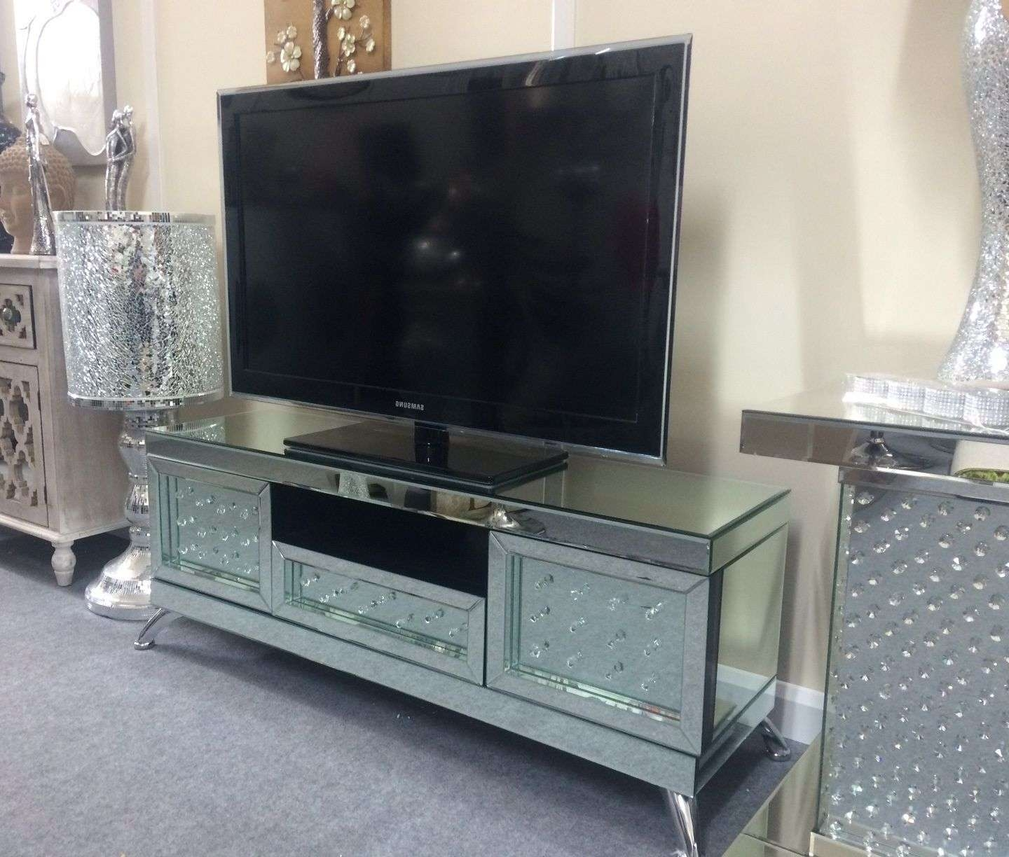 Venetian Mirrored With Floating Crystal Tv Stand Intended For Mirrored Tv Stands (Gallery 13 of 15)