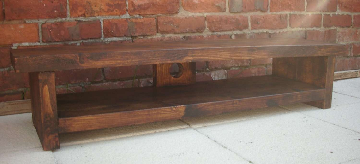 Very Low Rustic Pine Plasma Lcd Low Tv Stand Unit Table For In Pine Tv Stands (View 20 of 20)