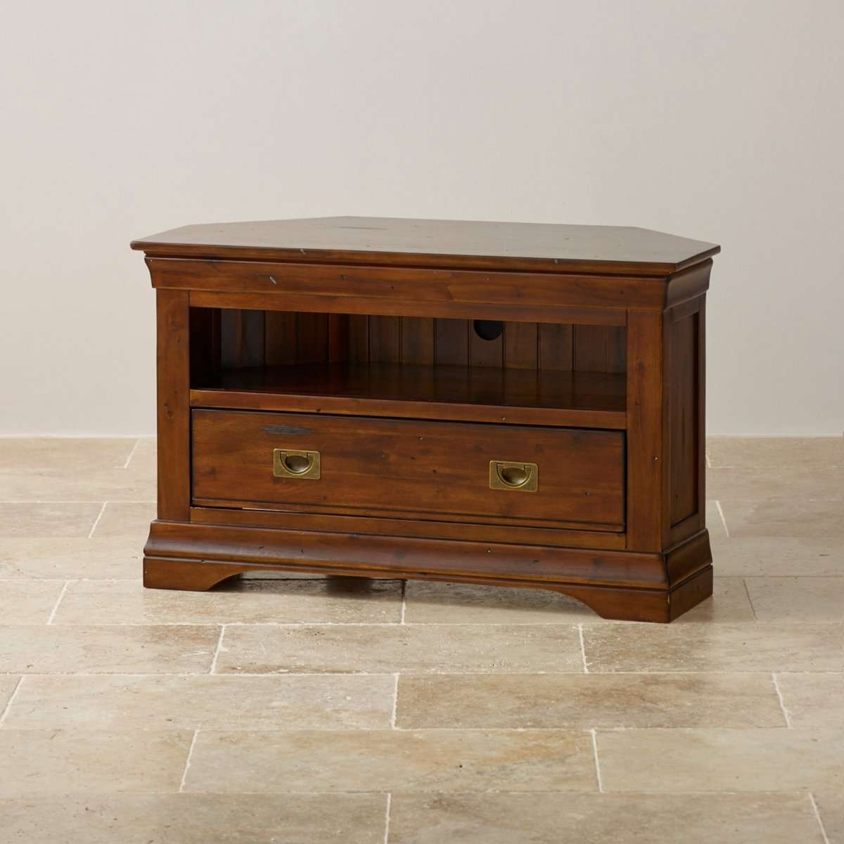 Victoria Corner Tv Cabinet In Solid Acacia | Oak Furniture Land With Corner Tv Cabinets (View 13 of 20)