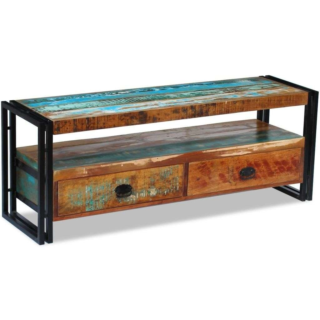 Vidaxl Solid Reclaimed Wood Tv Stand Cabinet Unit Media Inside Recycled Wood Tv Stands (View 12 of 15)