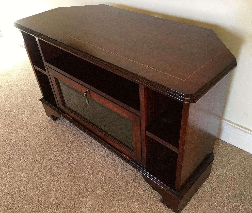 Vintage Dark Wood Corner Tv Stand Or Entertainment Cabinet | In Regarding Dark Brown Corner Tv Stands (View 12 of 15)