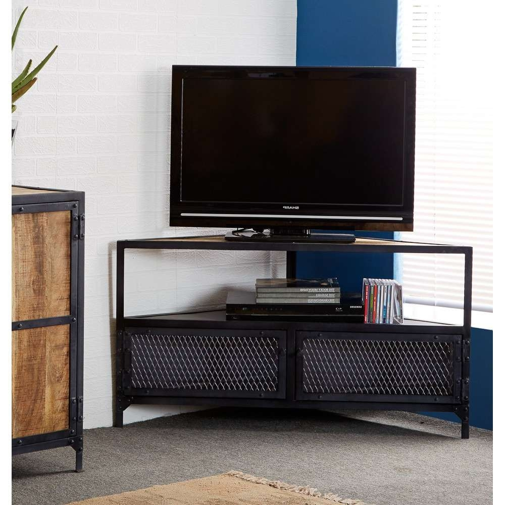 Vintage Industrial Metal And Wood Tv Stand Console Table Inside Industrial Corner Tv Stands (Gallery 8 of 15)