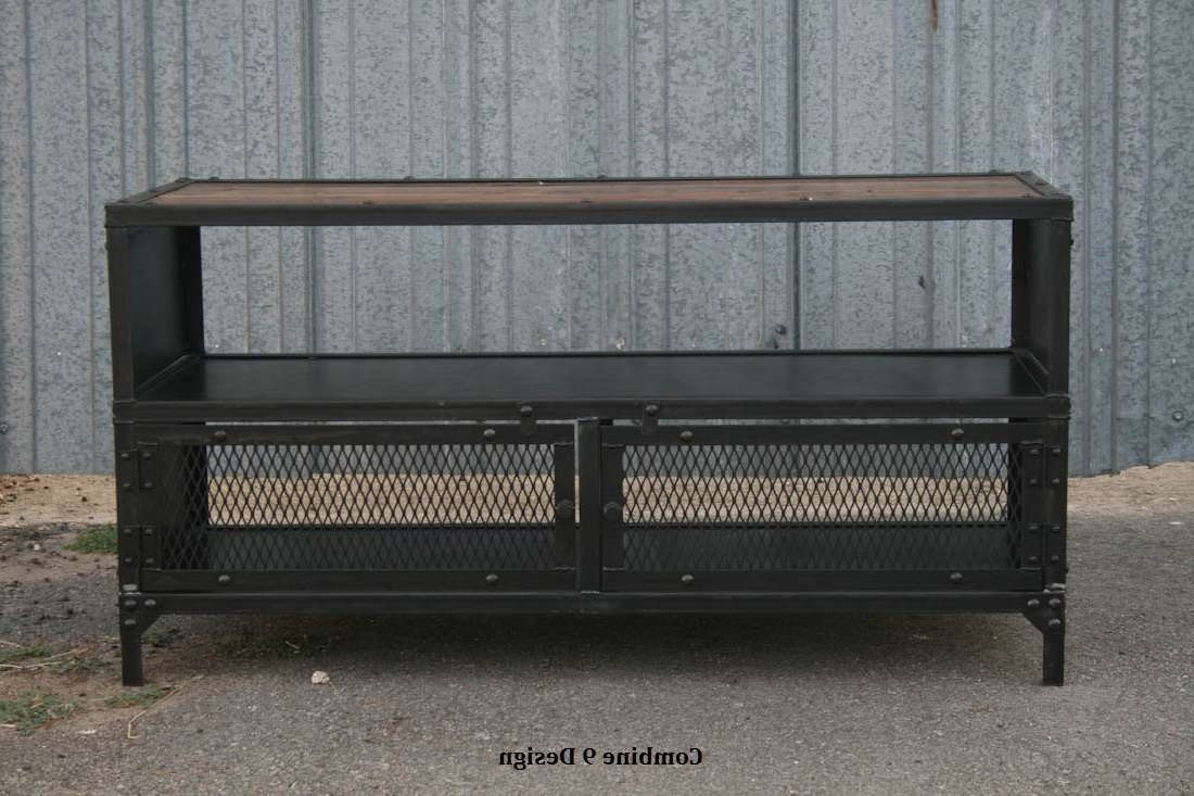 Vintage Industrial Tv Stand. Reclaimed Wood & Steel. Mid For Reclaimed Wood And Metal Tv Stands (Gallery 10 of 15)