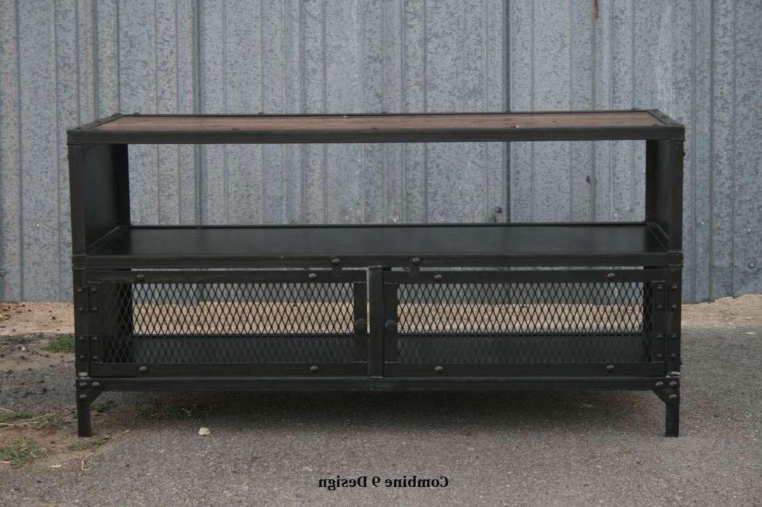 Vintage Industrial Tv Stand. Reclaimed Wood & Steel (View 13 of 15)