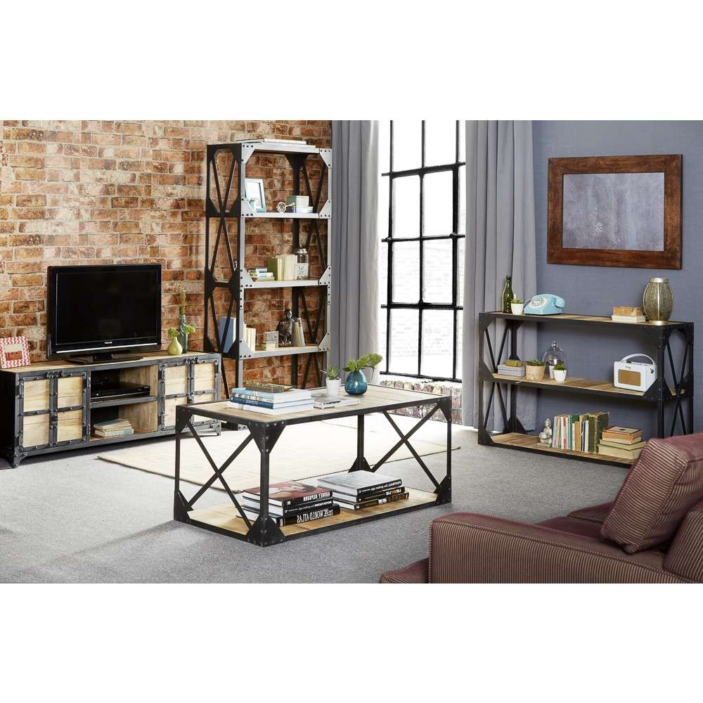 Vintage Up Cycled Industrial Large Media Unit Wood And Metal Within Industrial Metal Tv Stands (View 11 of 15)
