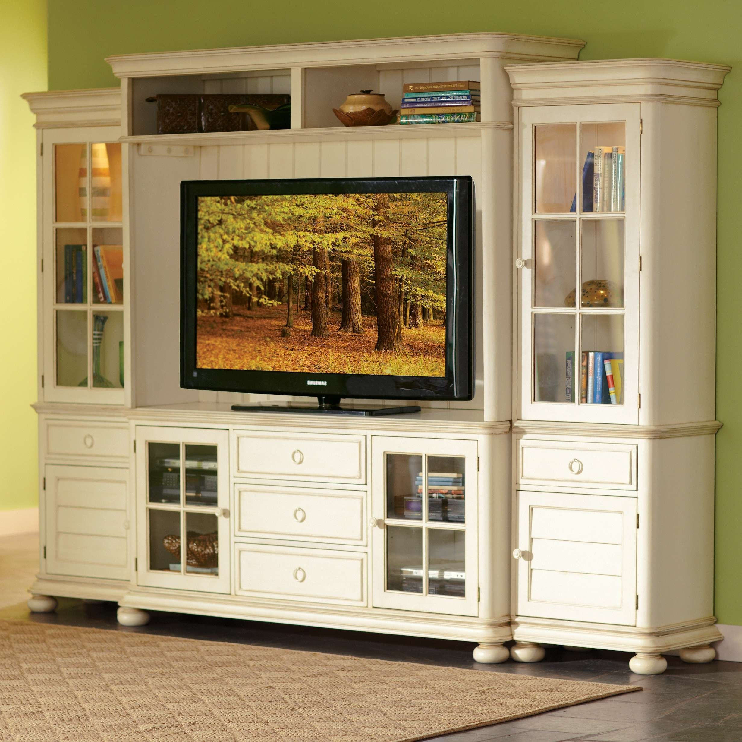 Vintage White Mahogany Wood Media Cabinet With Glass Doors Storage Within Wooden Tv Cabinets With Glass Doors (View 9 of 20)