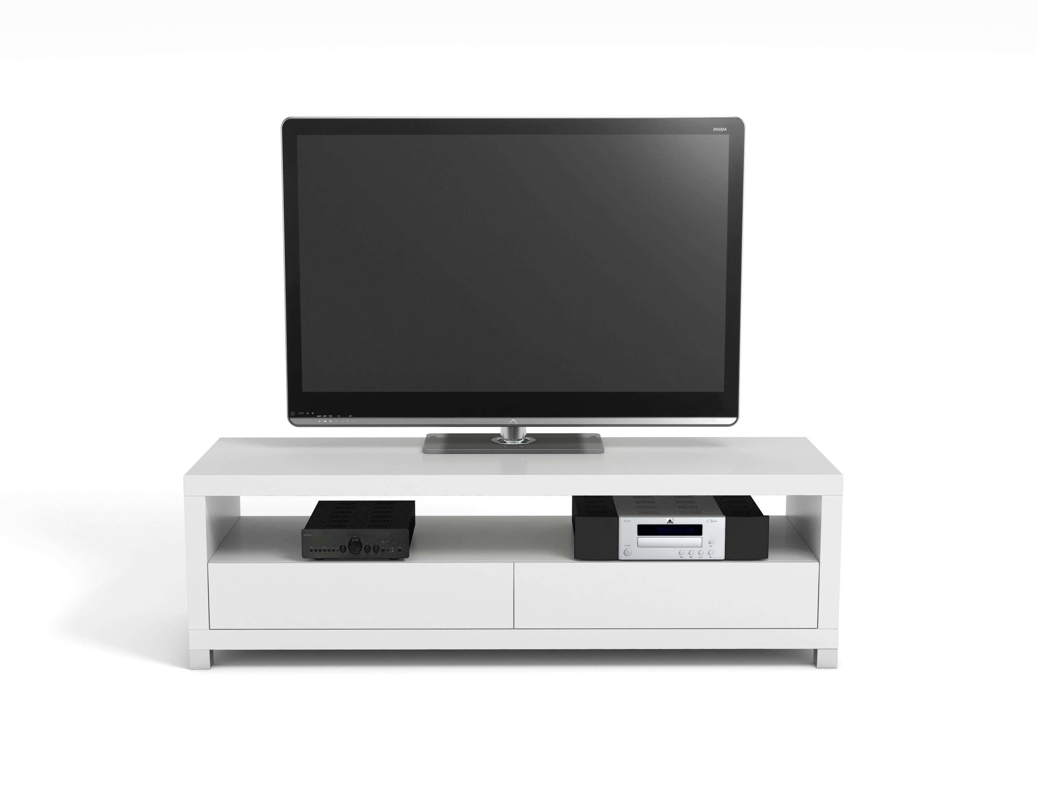 Vivanco D1200Gb 120Cm Designer Tv Stand White | Hbh Woolacotts Intended For 100Cm Tv Stands (Gallery 12 of 15)