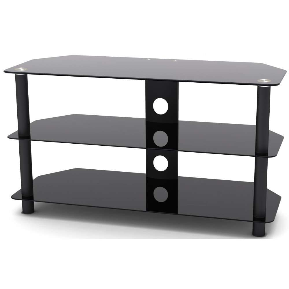 Vonhaus Black Glass Tv Stand With 3 Shelves For Upto 42 Inch Tvs Pertaining To Black Glass Tv Stands (Gallery 4 of 15)