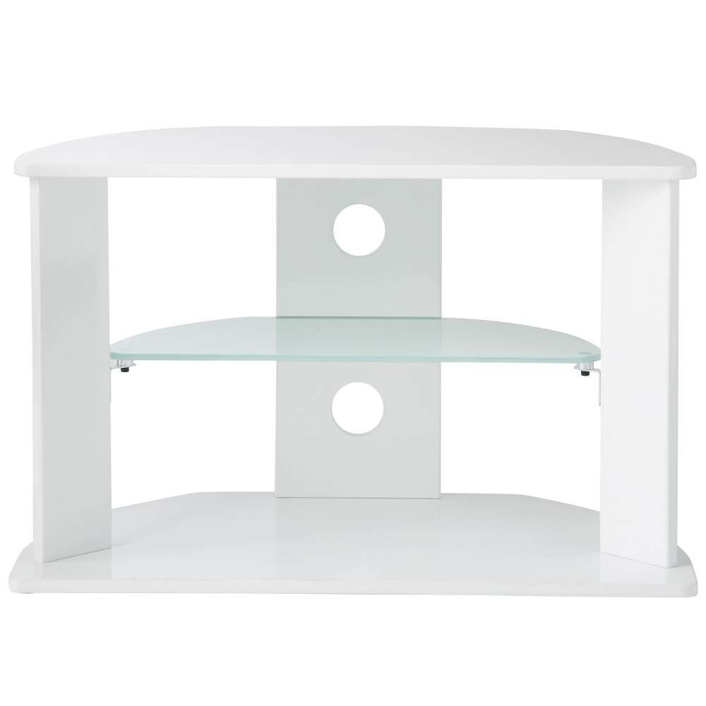 Vonhaus White Glass Tv Stand For 37inch Tv's Pertaining To White Glass Tv Stands (View 11 of 15)
