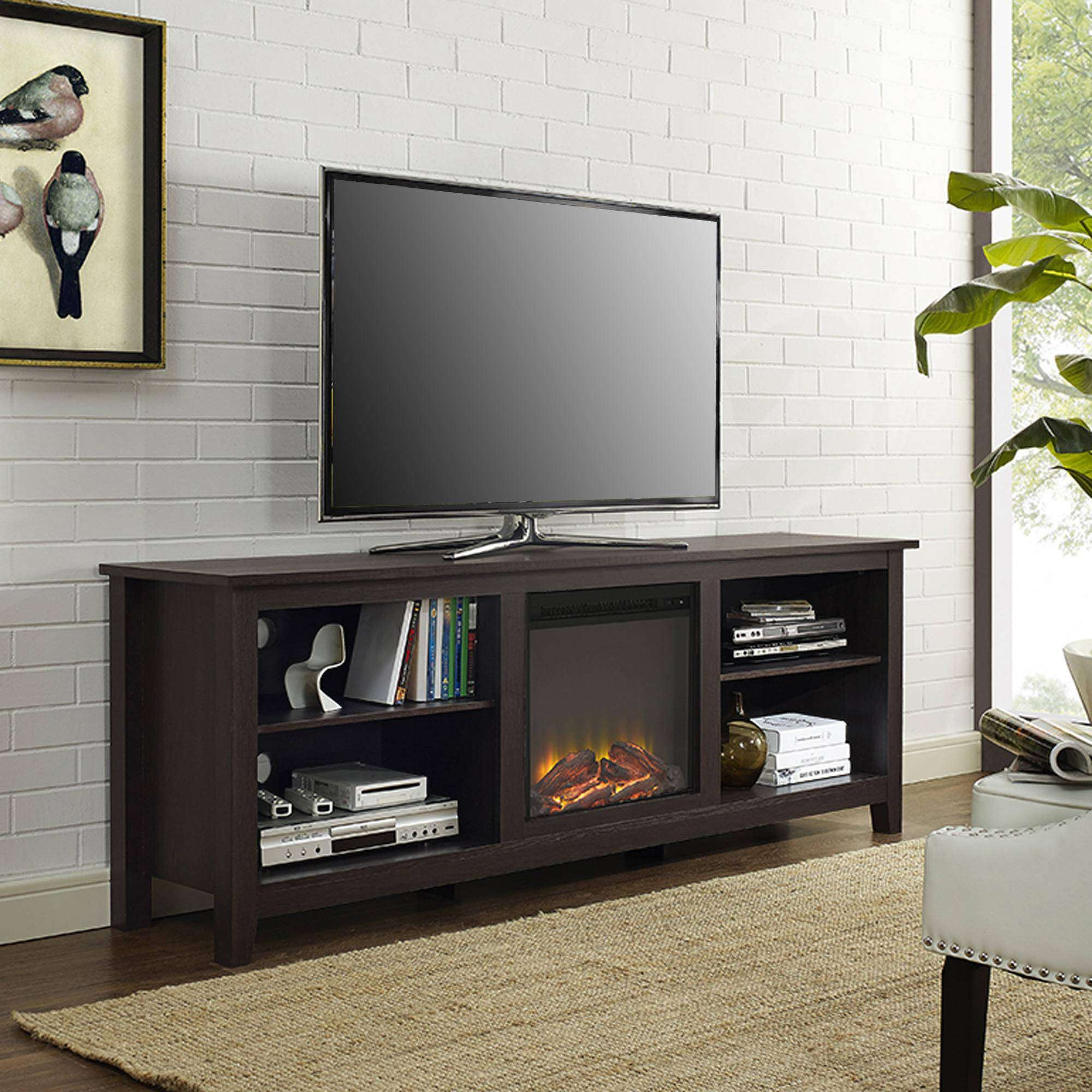 Walker Edison Wood Tv Stand With Fireplace, For Tvs Up To 70 Within Tv Stands For 70 Inch Tvs (View 6 of 20)