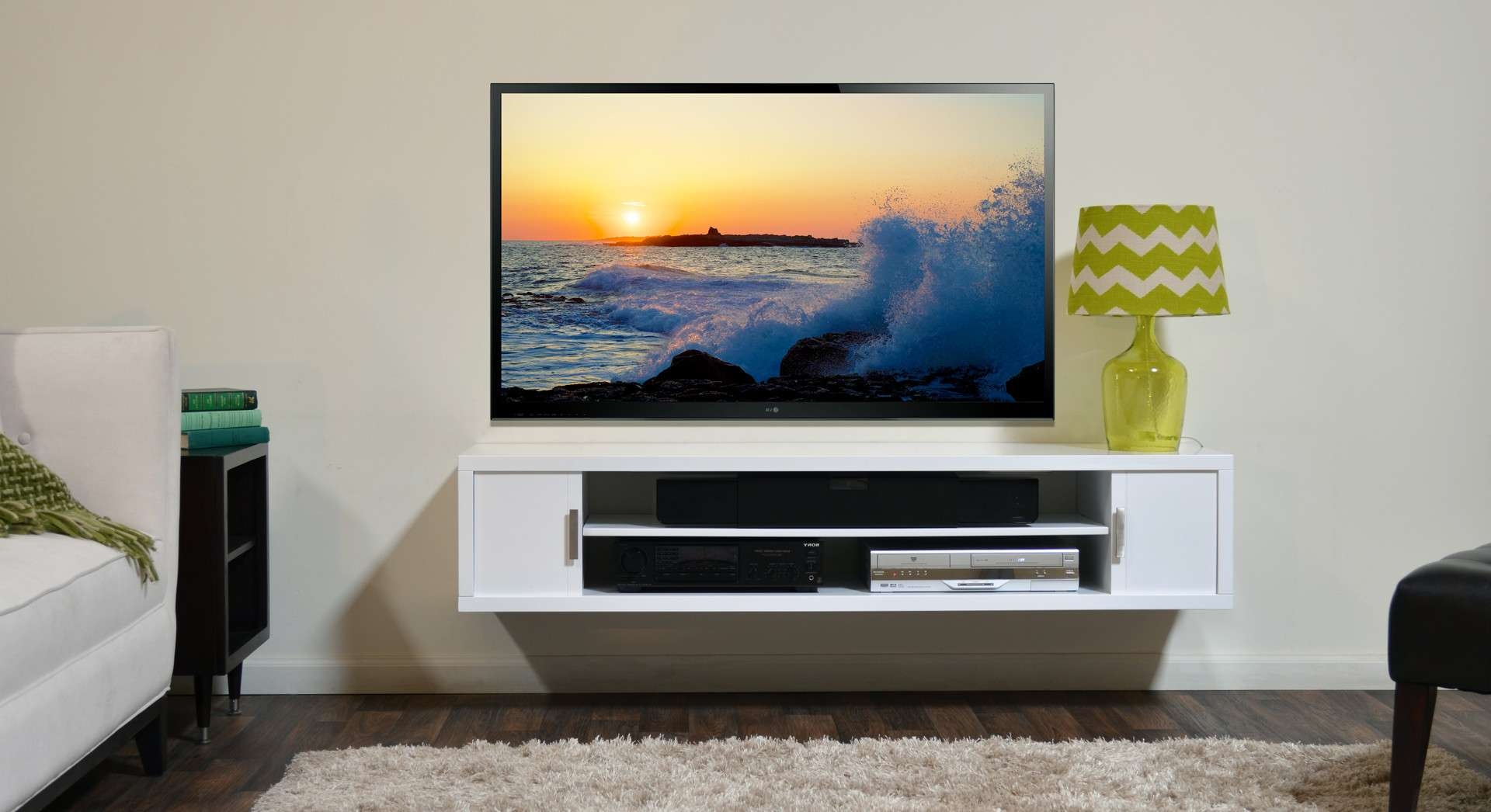 Wall Mount Flat Screen Tv With White Painted Pine Wood Media With Regard To White Wall Mounted Tv Stands (View 10 of 15)