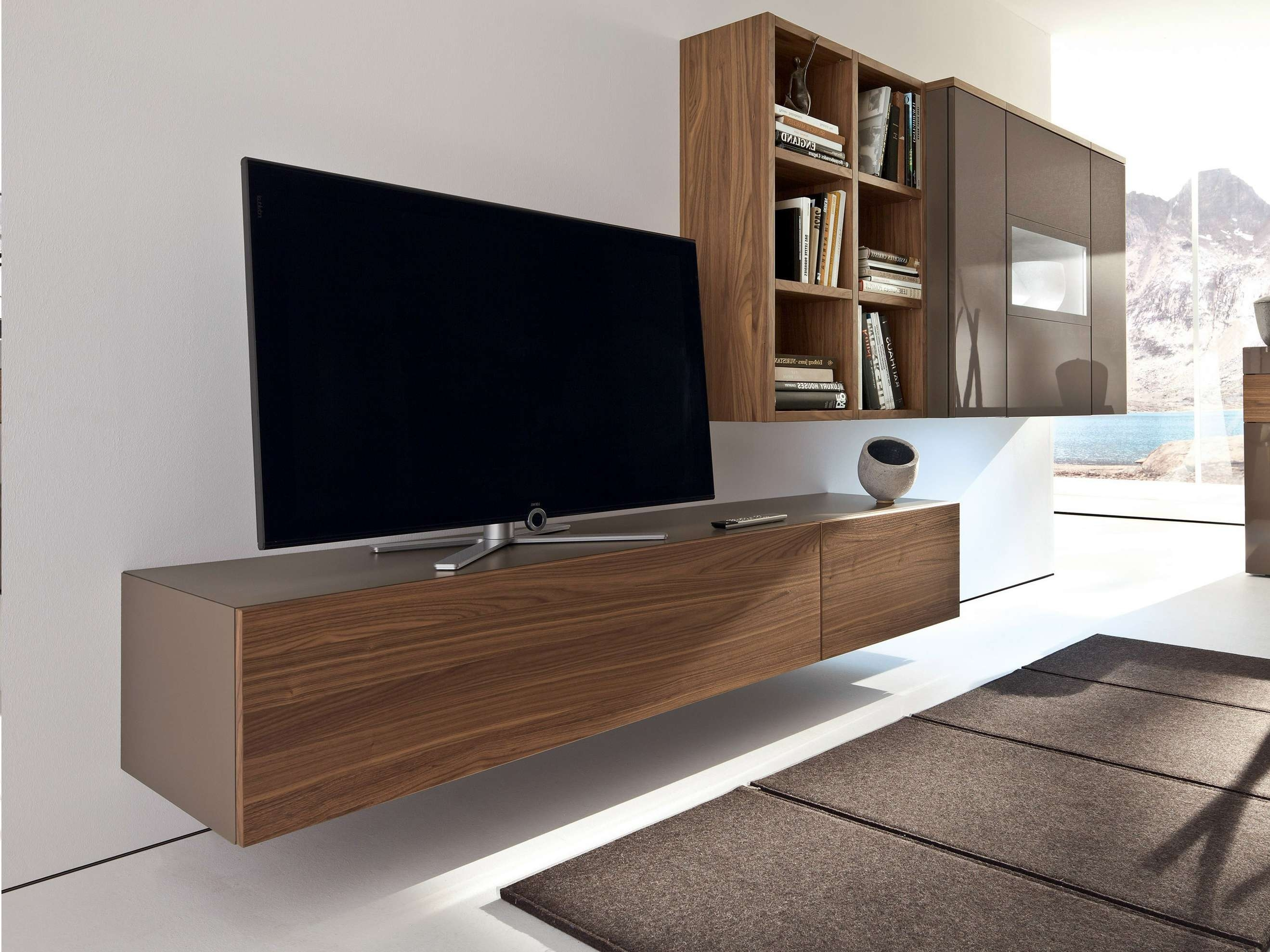 Wall Mounted Media Cabinet With Doors Brown Ebony Hardwood Within Tv Cabinets With Storage (View 19 of 20)