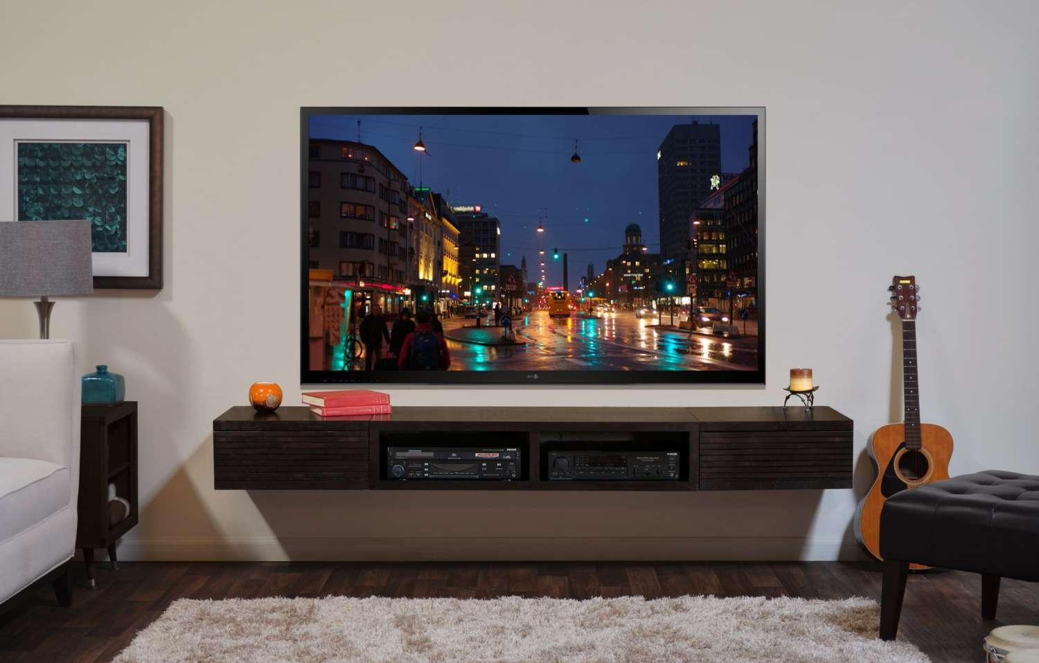 Wall Mounted Tv Stand Entertainment Console Mayan Espresso With Regard To Wall Mounted Tv Stands Entertainment Consoles (View 10 of 15)