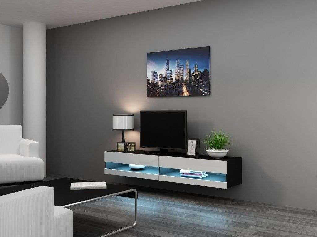 Wall Mounted Tv Stand With Storage Cabinrt Made Of Wooden In Black With Regard To Acrylic Tv Stands (View 2 of 15)