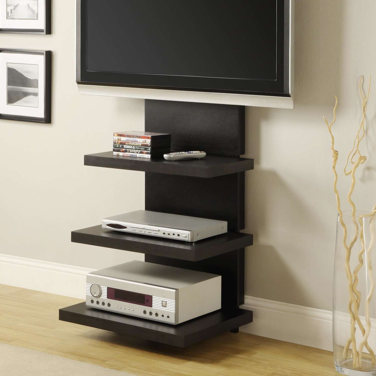 Wall Mounteddia Cabinet Black Stained Wood Storage And Tv Stand Inside Modern Tv Stands With Mount (View 14 of 15)