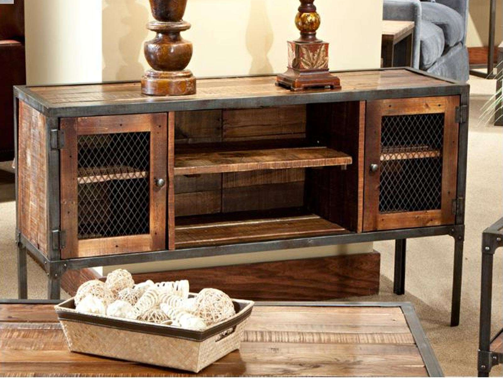 Wall Units: Extraordinary Wrought Iron Entertainment Center Rustic Throughout Rustic Furniture Tv Stands (View 20 of 20)