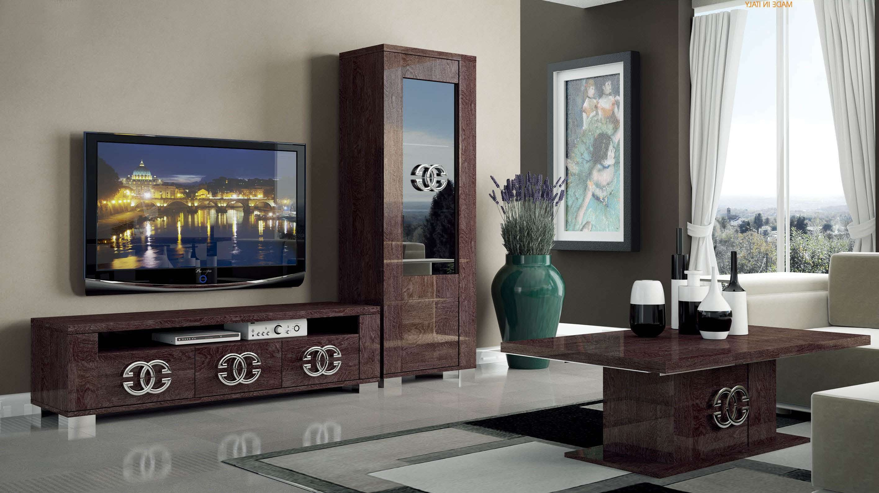 Walnut Brown Tv Stand With Side Vitrine Shelves Hialeah Florida Regarding Brown Tv Stands (View 18 of 20)