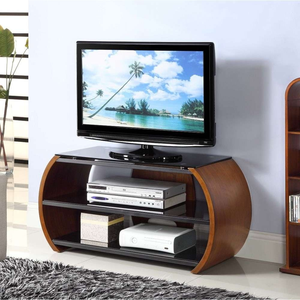 Walnut Dark Wooden Curved Tv Stand Modern Storage Glass Within Curve Tv Stands (View 14 of 15)