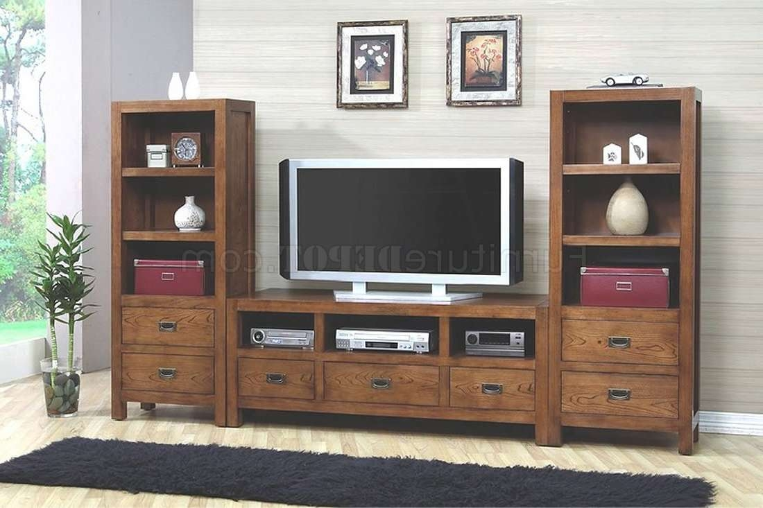 Walnut Finish Stylish Tv Stand W/optional Media Towers Within Stylish Tv Stands (View 14 of 15)