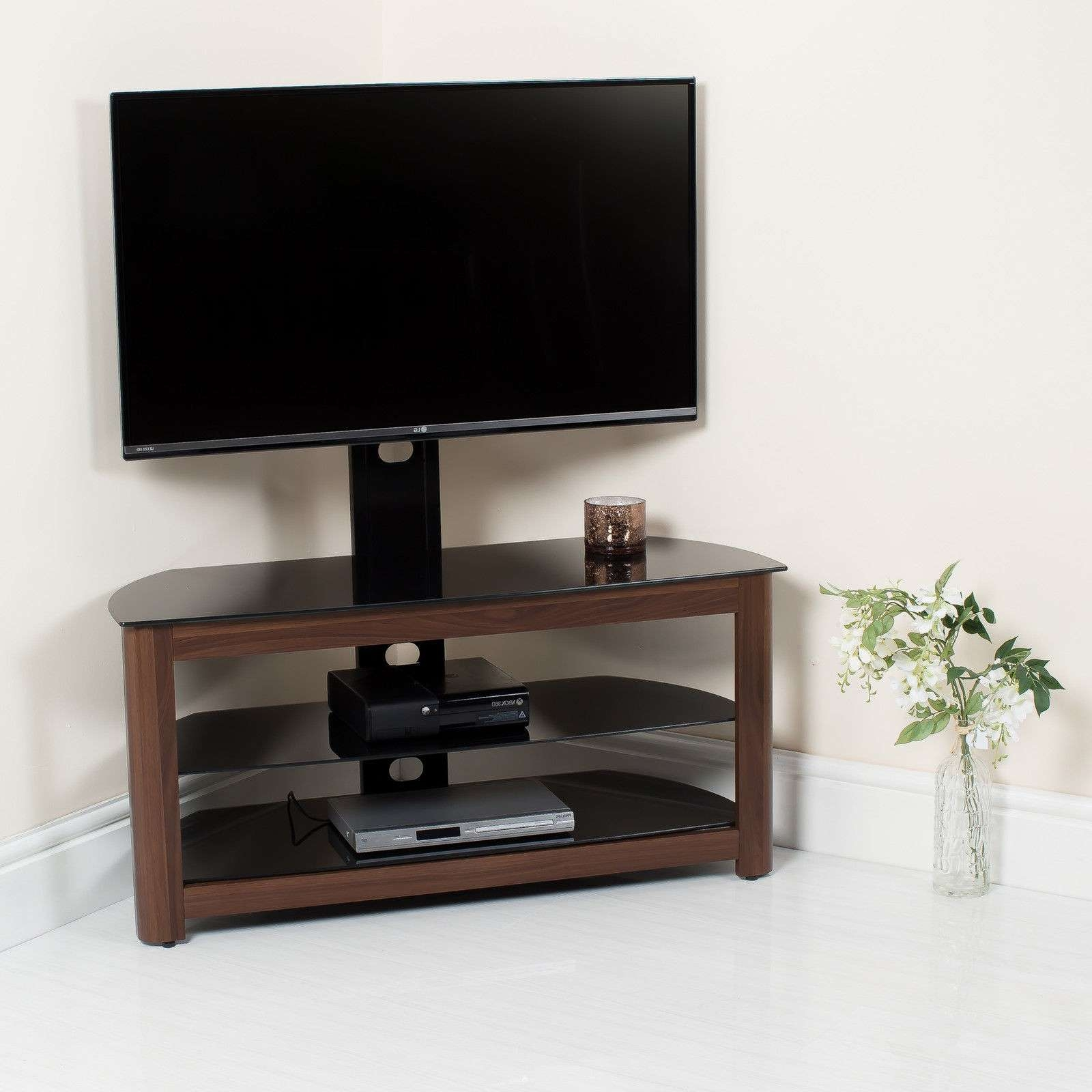 Walnut High Gloss Tv Stand With Swivel Bracket Abreo Home Furniture Within Walnut Tv Stands (View 14 of 15)