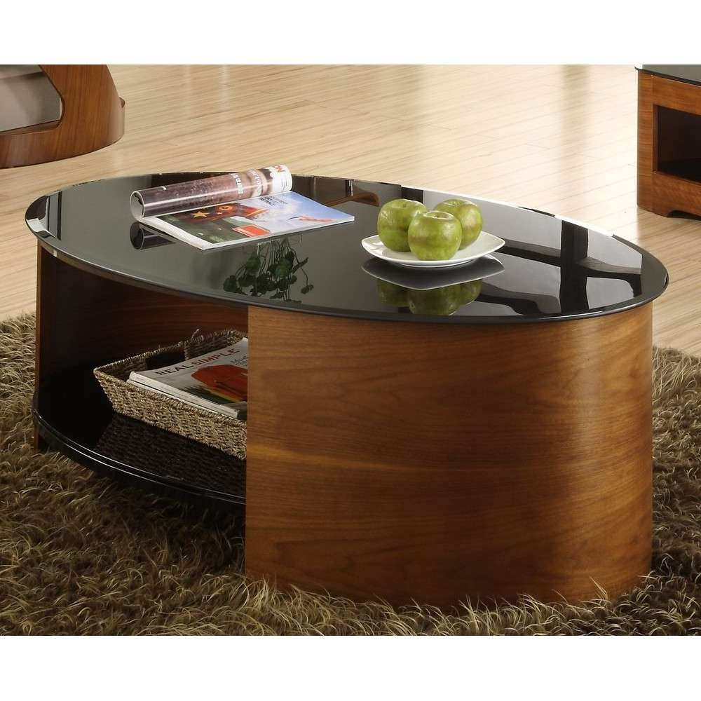 Walnut Oval Coffee Table Modern Unusual Wooden Storage Intended For Oval Glass Tv Stands (View 15 of 15)